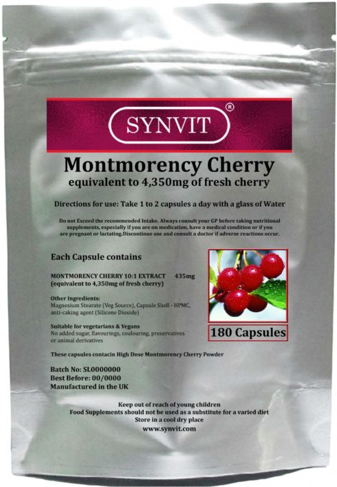 Montmorency Cherry equivalent to 4,350mg of fresh cherry SYNVIT®